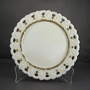 Decorative Milk Glass Plate with Gilded Trim