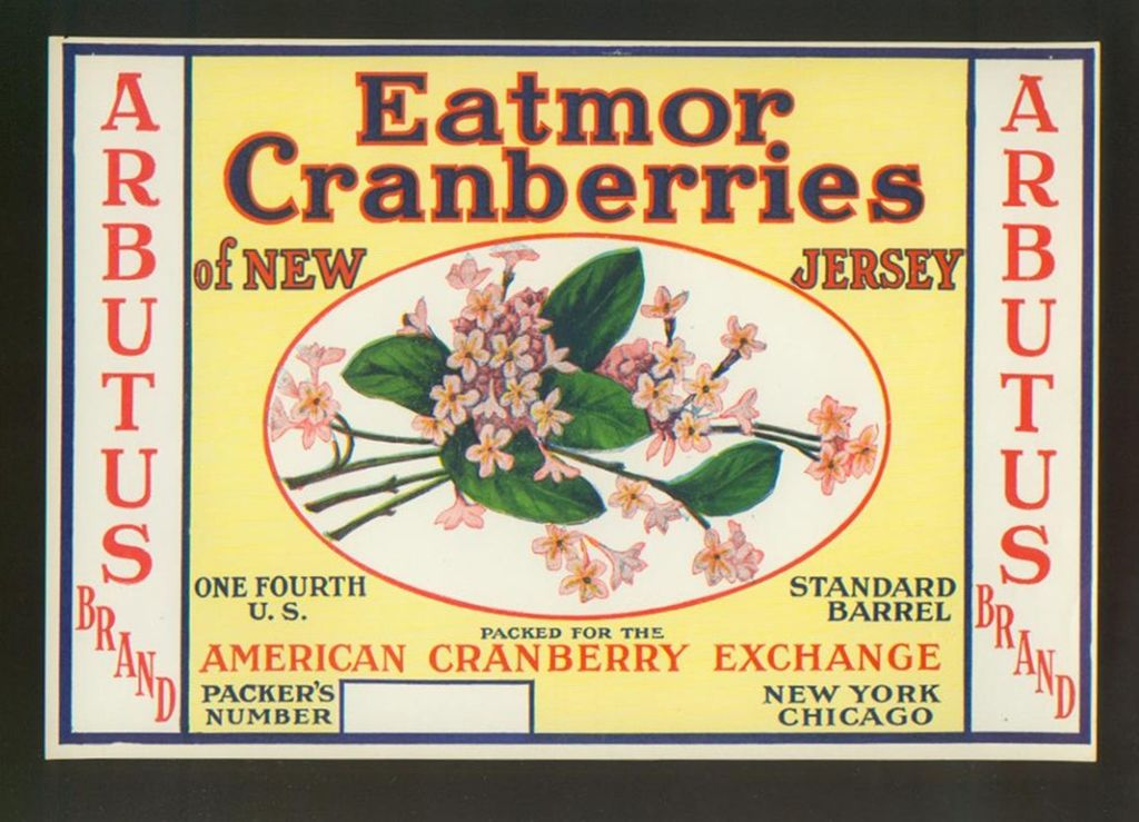 Cranberry Crate Label New Jersey Arbutus Brand