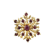 Gold-tone and Purple Rhinestone Starburst Fleur de Lis Pin