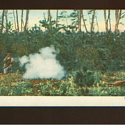 Hunting Postcard - Red Fox Shooting With Black Powder