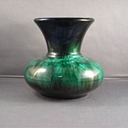 Medium Blue Mountain Pottery Vase in Green-drip Glaze