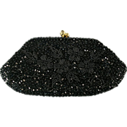 Black Sequin and Bead Evening Clutch Bag Purse