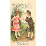 Embossed Easter Greeting Card - Children with Large Egg