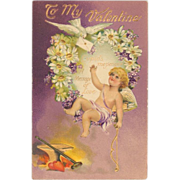 Embossed Gilded Valentine Card - Cupid in a Floral Wreath