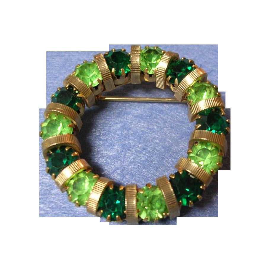 Green Rhinestone Circle Wreath Pin
