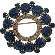 Weiss Signed Blue Rhinestone Circle Pin