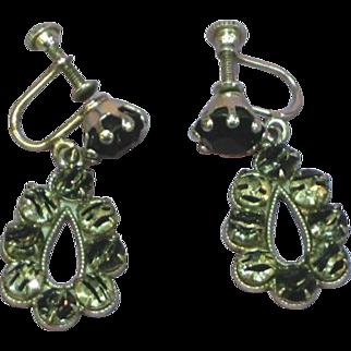 European Silver IRIS Rhinestone Black & White Glass Dangle Vintage Earrings