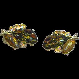 Coro Marked Designer Foil Art Glass Aurora Borealis Clip Earrings