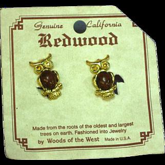 Redwood Burl Owl Figural Clip Earrings