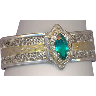 Deco Emerald Color Rhinestone Bracelet