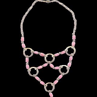 Deco Pink Glass Beaded Festoon Necklace