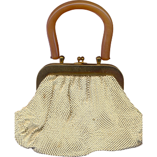 Whiting and Davis Beaded Purse with BAKELITE Handle