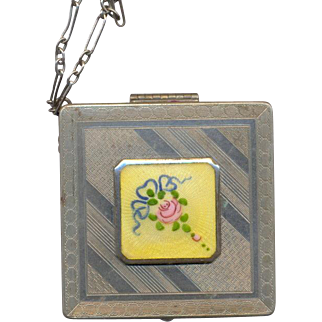 Wrist Compact with Guilloche Enamel marked May Fair