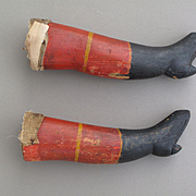 Unusual Primitive Hand Carved Wooden Lower Legs with Original Paint