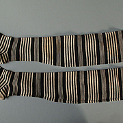 Wonderful 19th c. Striped stockings for Young Girl to Make Doll Socks