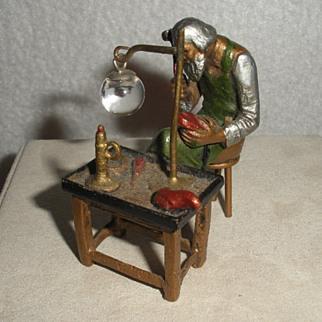 Vienna Bronze miniature shoe maker at bench