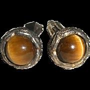Sterling Cufflinks Tiger Eye Stones