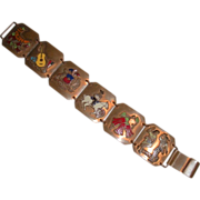 Enamel on Copper Bracelet Chile Funky vintage