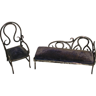 Sterling silver miniature couch chair Thonet bentwood 1894