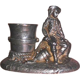 Figural Match or Toothpick Holder Victorian metal