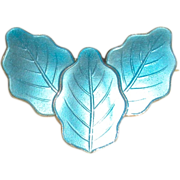 Blue Enamel Gilt Sterling Leaves Pin Scandinavian
