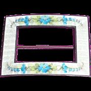 Enamel Brooch Pin Blue Flowers on white Guilloche Sterling