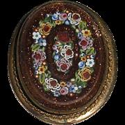 Micro Mosaic Goldstone Pin Pendant Flower Wreath