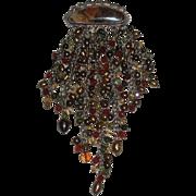 Julie Shaw artist jewelry pin Sterling, 14K, brown pearls, gemstones