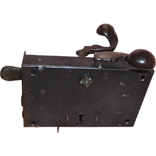 Wrought Iron Door Lock Early 1800's Pa. Signed