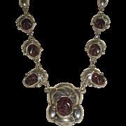 Vintage Mexican Sterling Amethyst Quartz Faces Necklace
