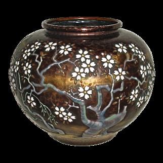 Ando Cloisonne Japanese copper hammered arts and crafts vase