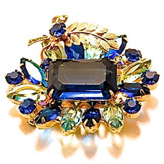 Juliana Designer Sapphire Rhinestones Brooch
