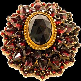 Victorian Natural Rose Cut/Faceted Garnets Brooch