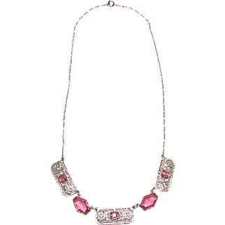 Deco Rhodium Pierced Work Necklace