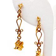 Vintage Venetian Scroll 24K Gold Nugget Dangle Earrings