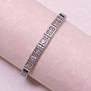 Art Deco Filigree Bracelet Diamond & Sapphire 14k White Gold