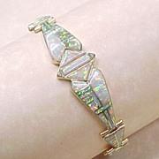 Vintage Designer David Freeland Bracelet OPAL Intarsia 14k Gold