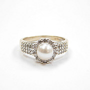 Enchanting Vintage Diamond & Cultured Pearl Ring 14k White Gold