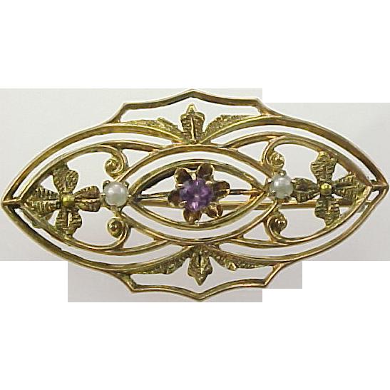 Art Nouveau Amethyst & Pearl 10k Gold Delicate Ornate Pin