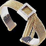 REDUCED Vintage 18k Gold & Diamond Buckle Bracelet, Tassel Detail