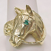 Gents Equestrian Ring 14k Gold HORSE With Emerald Accent