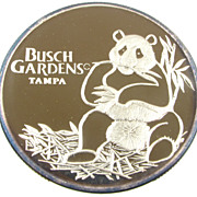Vintage 1987 Busch Gardens Tampa Giant Panda 0.999 Fine Silver - 1 Troy Oz.