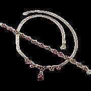 Vintage European 9k Gold GARNET Set, Bracelet & Necklace