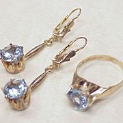 Vintage Blue Spinel Set Long Dangle Earrings & Ring