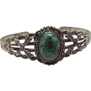 Native American Green Turquoise & Sterling Silver Cuff Bracelet
