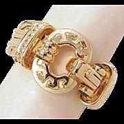 Massive CHUNKY Bracelet 14k Gold 52.4 Gram Garnet Accent