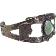 Vintage Native American Cuff Bracelet Sterling Silver & Turquoise