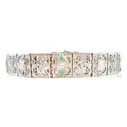 Art Deco Filigree Bracelet 18k White Gold Diamond & Faux Emerald