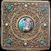 French Trinket Box With Miniature Portrait, Bronze