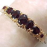 ORNATE Vintage GARNET Bangle Bracelet  8.0 Carats 14k Gold